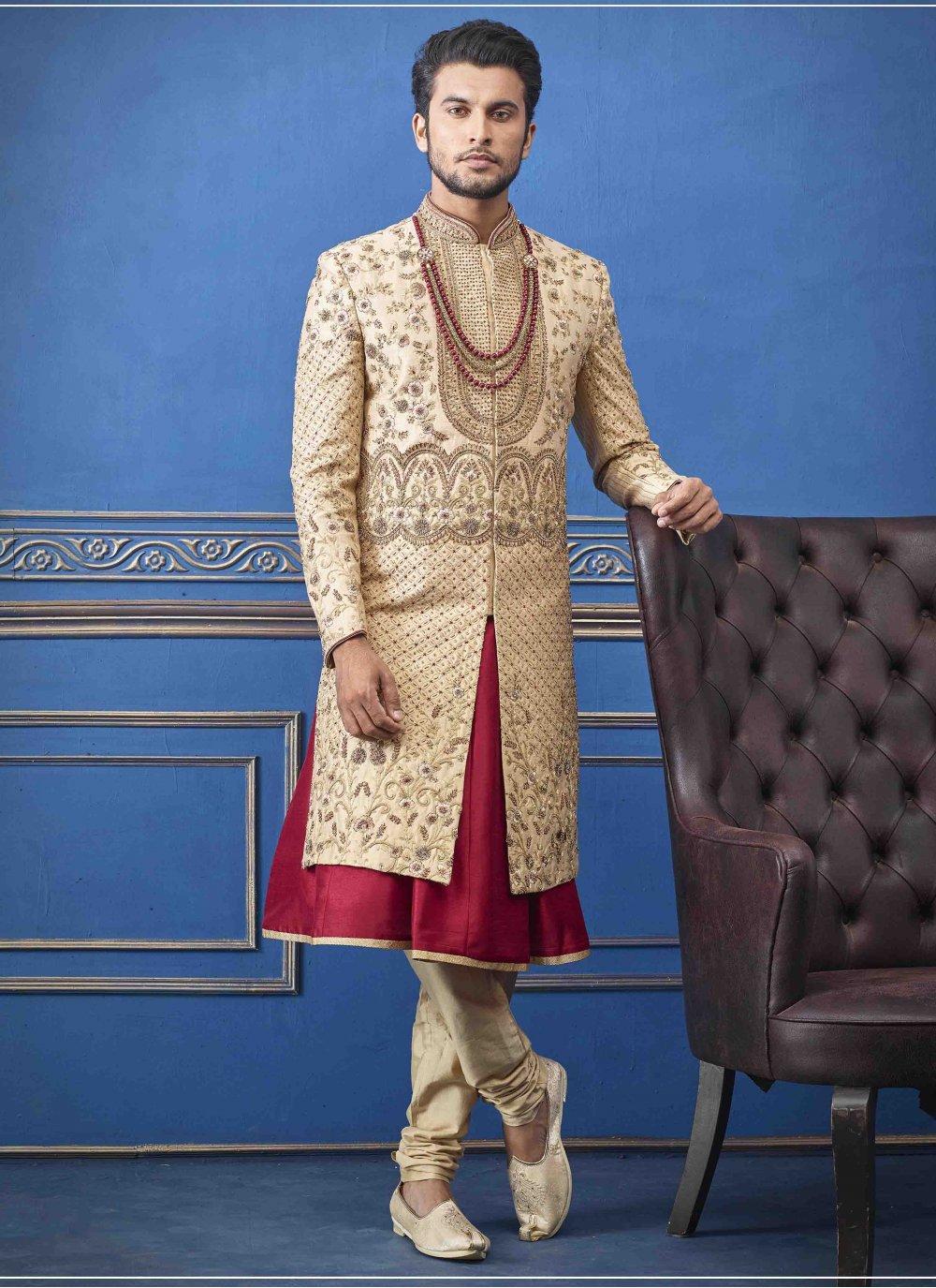 Pure Silk Gold Embroidered Sherwani