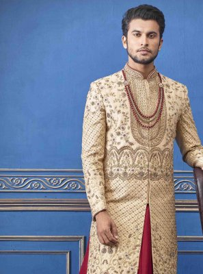 Pure Silk Gold Embroidered Sherwani