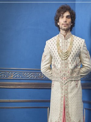 Pure Silk Gold Sherwani