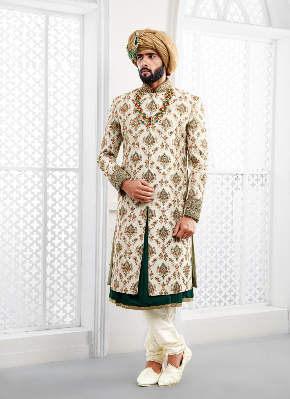 Pure Silk Off White Embroidered Sherwani