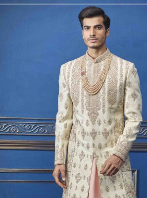 Pure Silk Sherwani in Cream