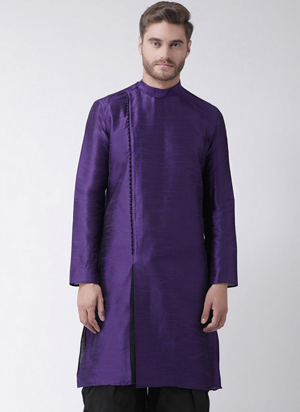 Purple Art Dupion Silk Plain Kurta