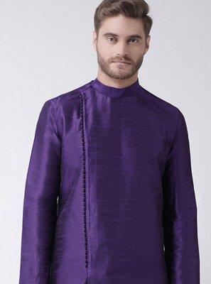 Purple Art Dupion Silk Plain Kurta