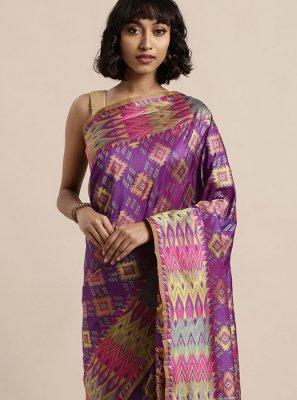 Purple Art Silk Mehndi Classic Saree