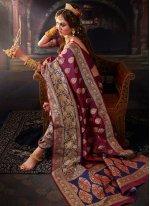 Purple Banarasi Silk Classic Saree
