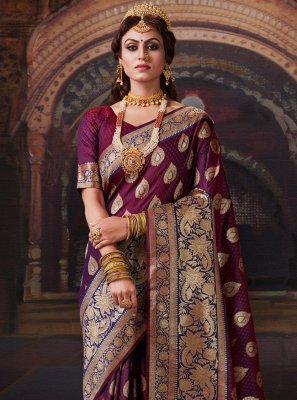 Purple Banarasi Silk Classic Saree