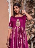 Purple Block Print Jamawar Silk Gown