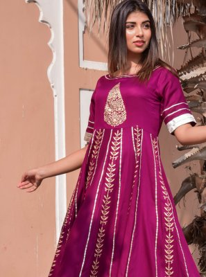 Purple Block Print Jamawar Silk Gown