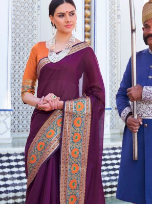 Purple Casual Casual Saree