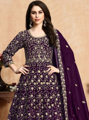 Purple Ceremonial Georgette Anarkali Salwar Suit