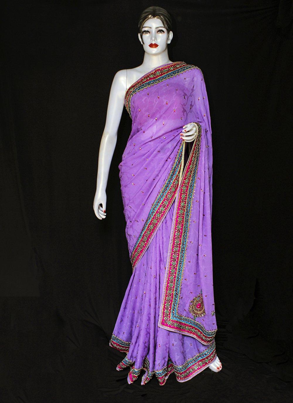 Purple Ceremonial Jacquard Designer Saree