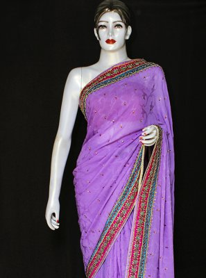 Purple Ceremonial Jacquard Designer Saree