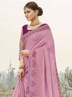 Purple Ceremonial Silk Trendy Saree