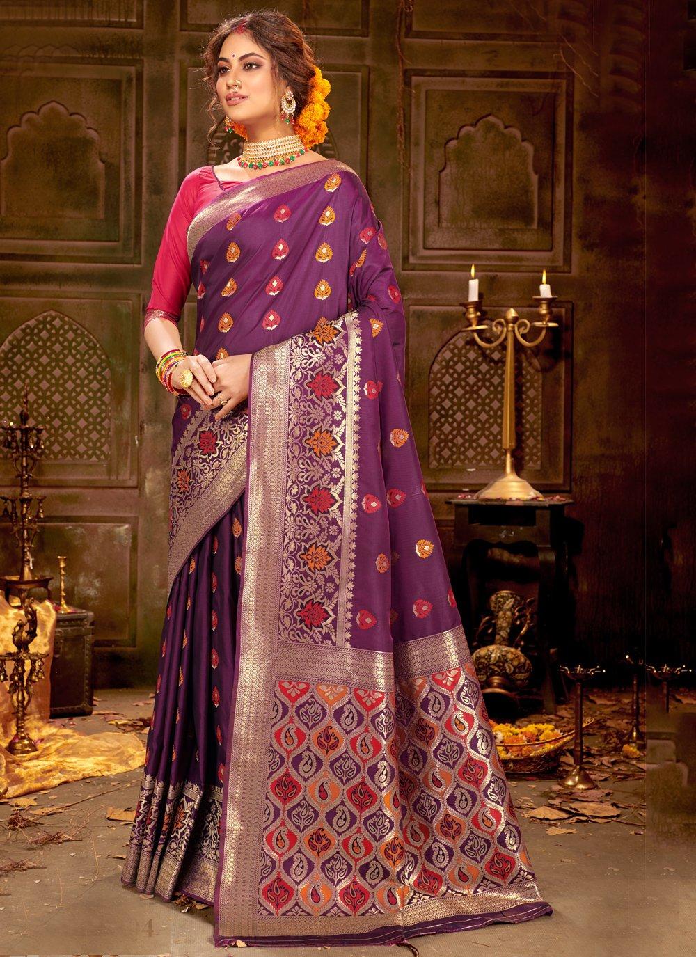 Purple Ceremonial Trendy Saree
