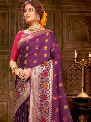 Purple Ceremonial Trendy Saree