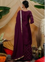 Purple Chinon Sequins Designer Palazzo Salwar Kameez