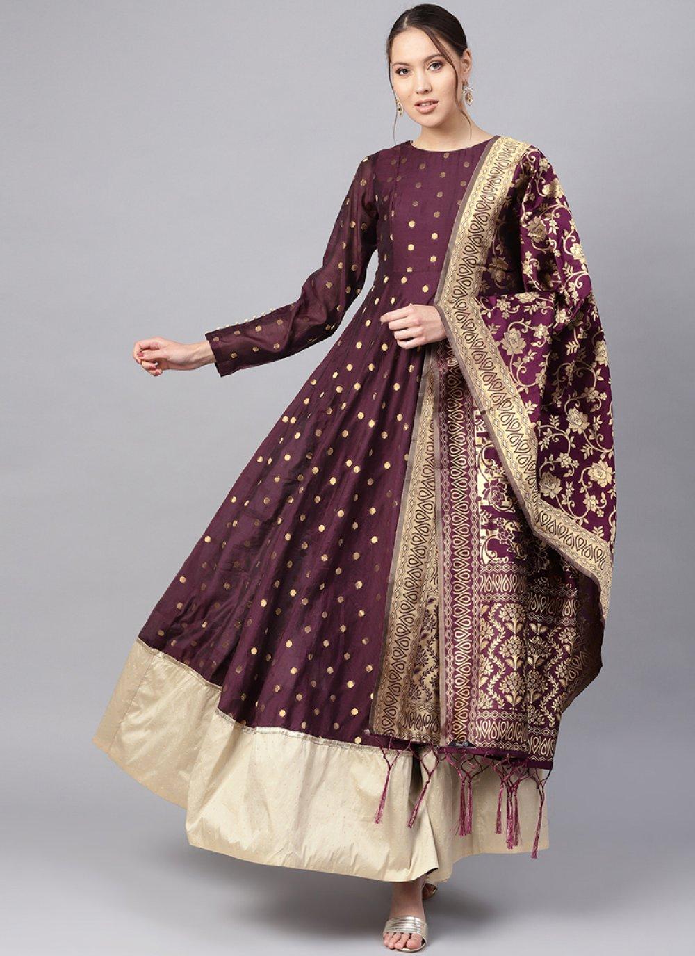 Purple Color Anarkali Salwar Kameez