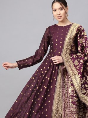 Purple Color Anarkali Salwar Kameez