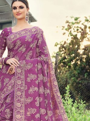 Purple Color Designer Saree
