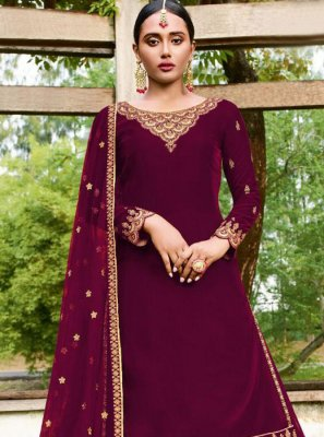 Purple Color Trendy A Line Lehenga Choli