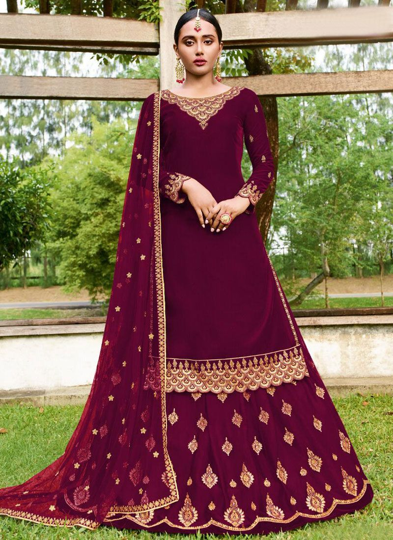 Purple Color Trendy A Line Lehenga Choli