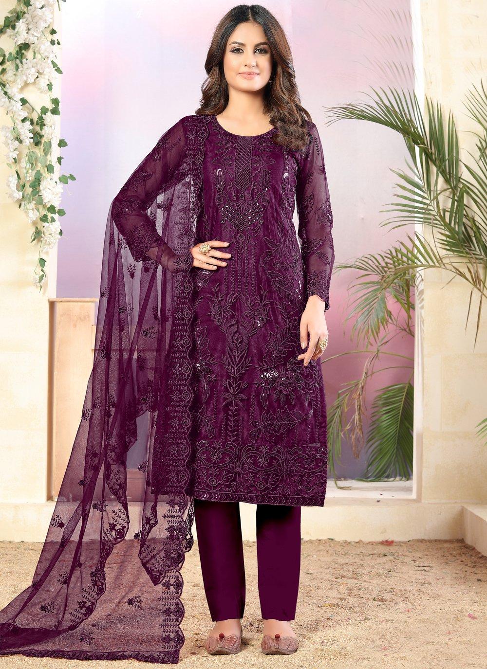 Purple Color Trendy Salwar Kameez