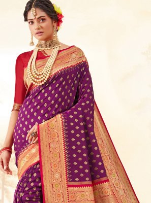 Purple Color Trendy Saree
