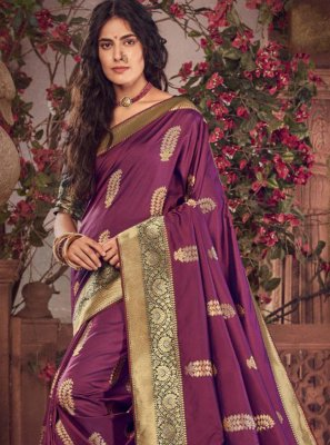 Purple Color Trendy Saree