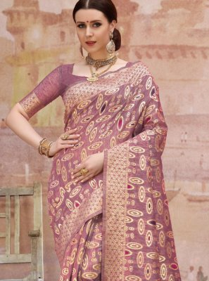 Purple Cotton Designer Traditional Saree