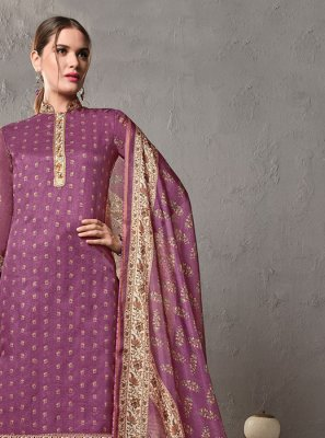 Purple Cotton Mehndi Salwar Suit