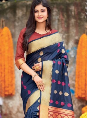 Purple Cotton Traditional Saree