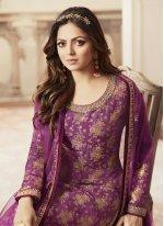 Purple Designer Palazzo Salwar Suit