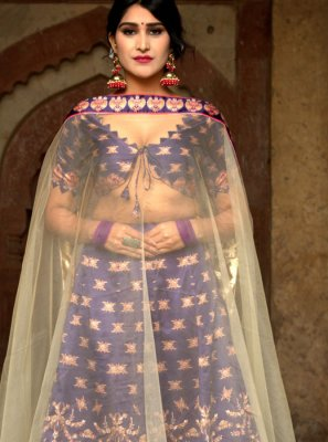 Purple Digital Print Festival Long Choli Lehenga