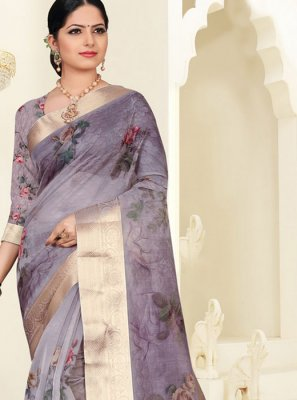 Purple Digital Print Silk Saree
