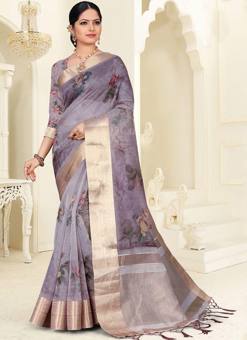 Purple Digital Print Silk Saree