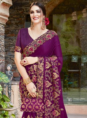 Purple Embroidered Art Silk Traditional Saree