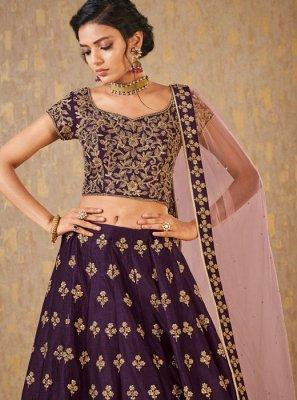 Purple Embroidered Banarasi Silk Designer Lehenga Choli