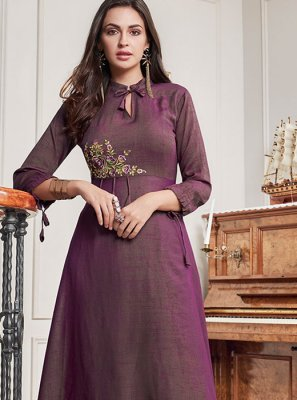 Purple Embroidered Cotton Party Wear Kurti