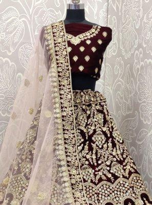 Purple Embroidered Designer A Line Lehenga Choli