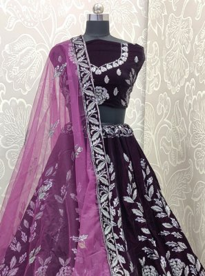 Purple Embroidered Designer Lehenga Choli