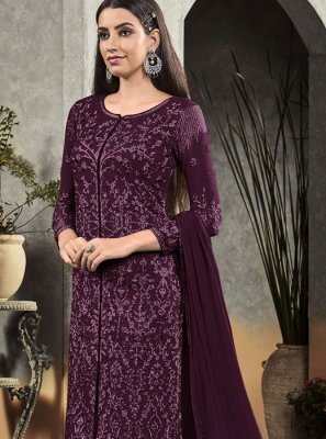 Purple Embroidered Designer Salwar Suit