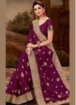 Purple Embroidered Designer Saree