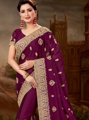Purple Embroidered Designer Saree