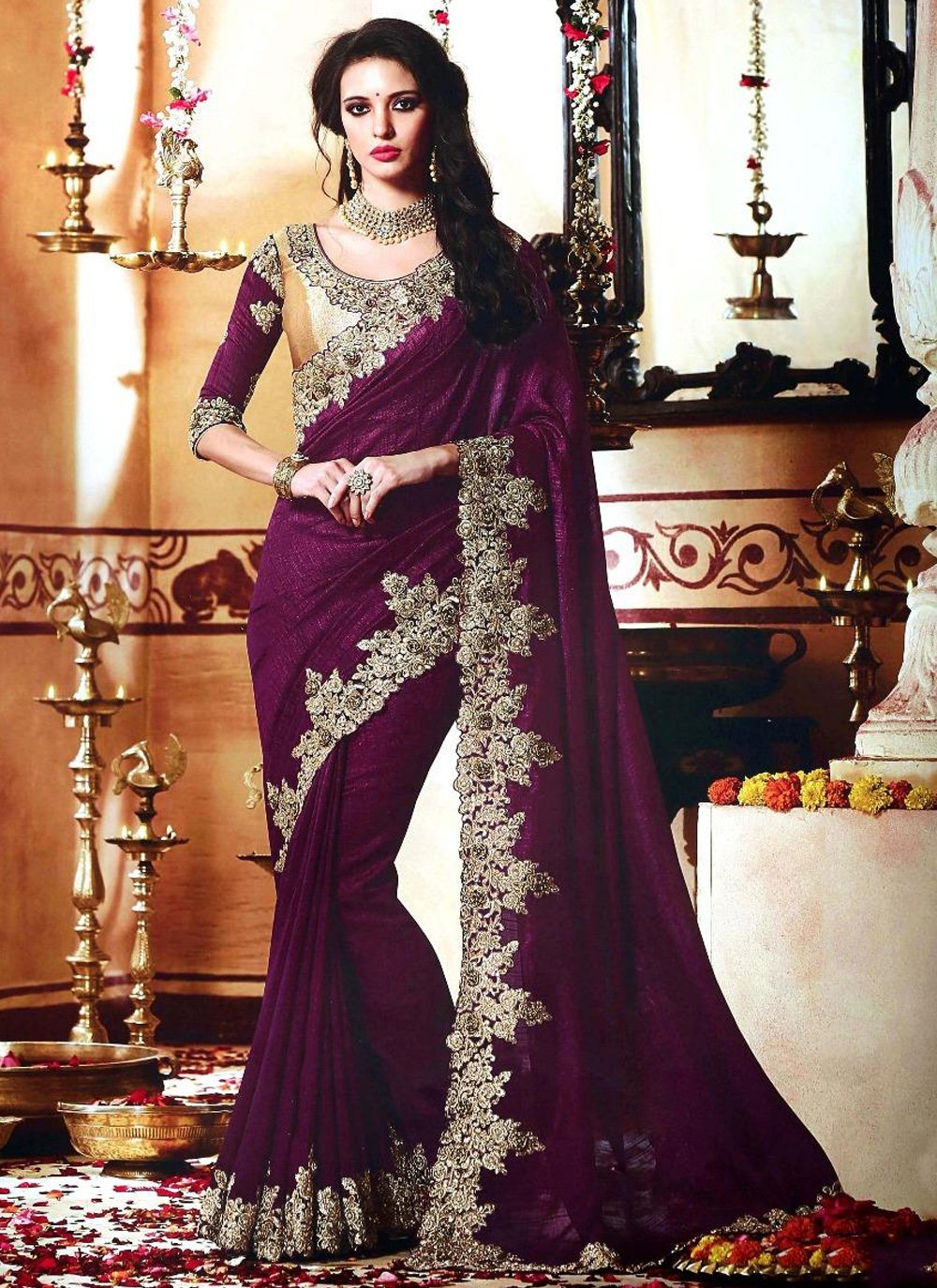 Purple Embroidered Engagement Contemporary Style Saree