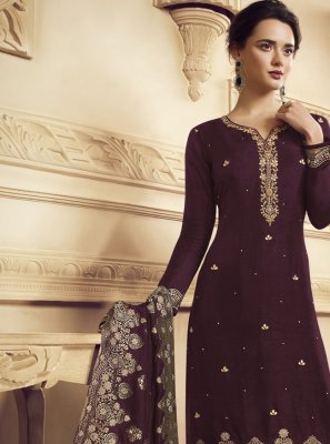 Purple Embroidered Faux Crepe Bollywood Salwar Kameez