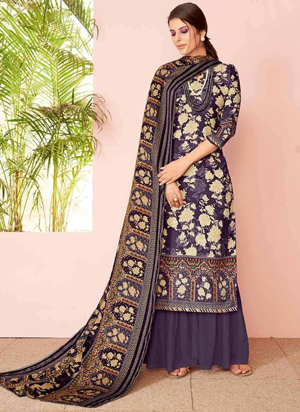 Purple Embroidered Festival Palazzo Salwar Suit