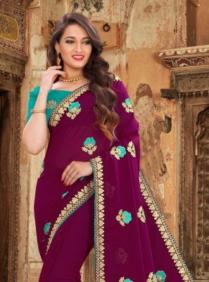 Purple Embroidered Georgette Bollywood Saree