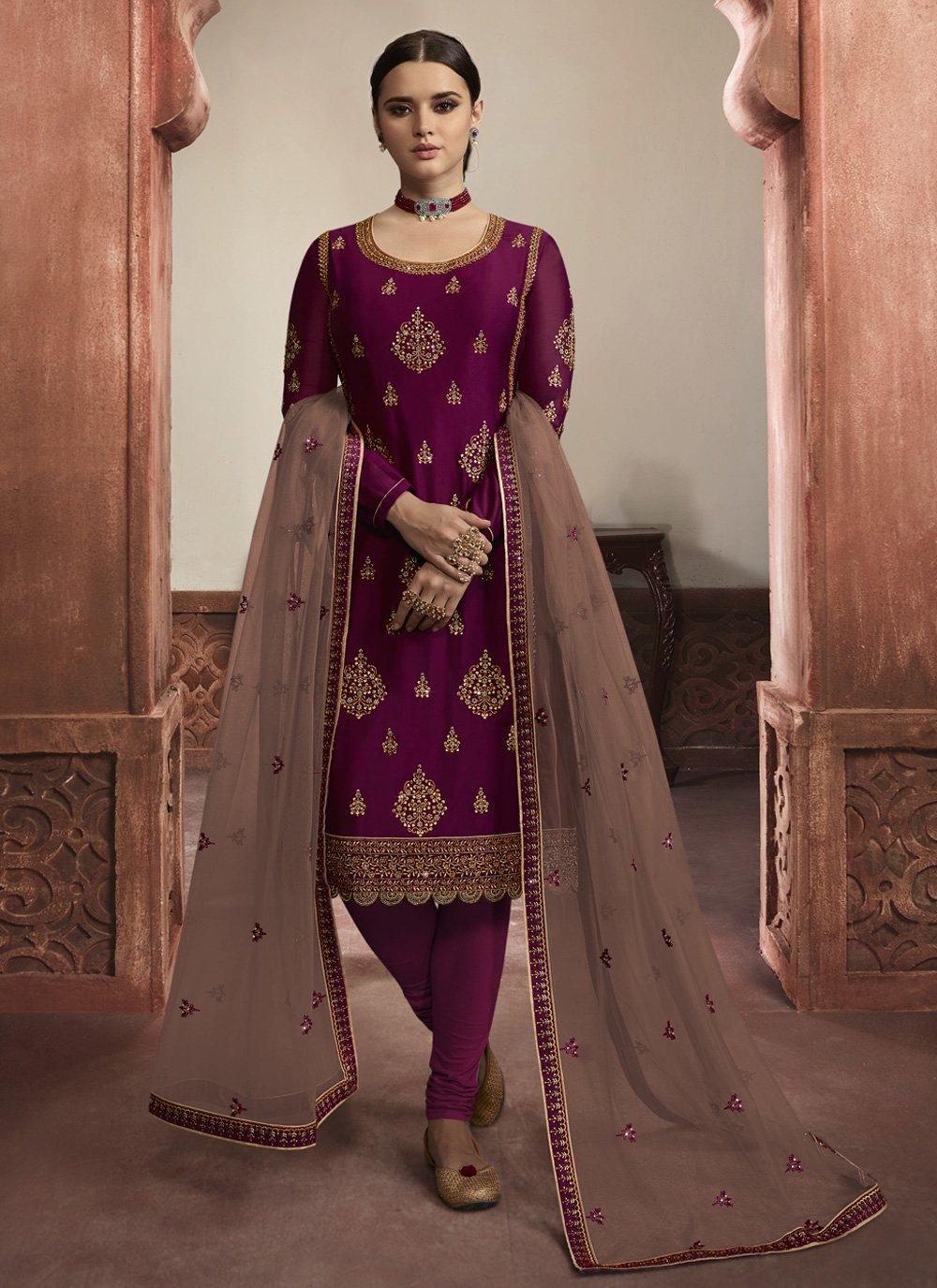Purple Embroidered Georgette Satin Churidar Salwar Suit