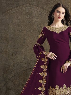 Purple Embroidered Georgette Trendy Salwar Kameez