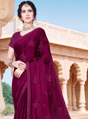 Purple Embroidered Party Classic Saree